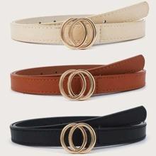 3pcs Ring Buckle Belt