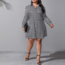 Plus Geo Print Button Through Shirt Dress