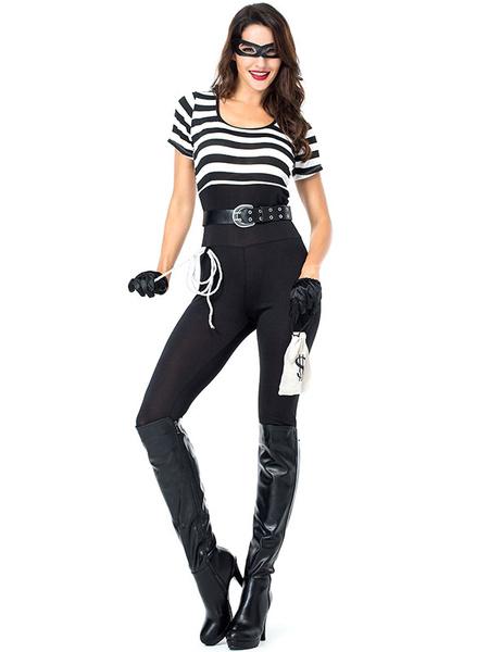 Milanoo Halloween Costumes Woman\'s Prisoner Stripes Sash Handbag Halloween Holidays Costumes