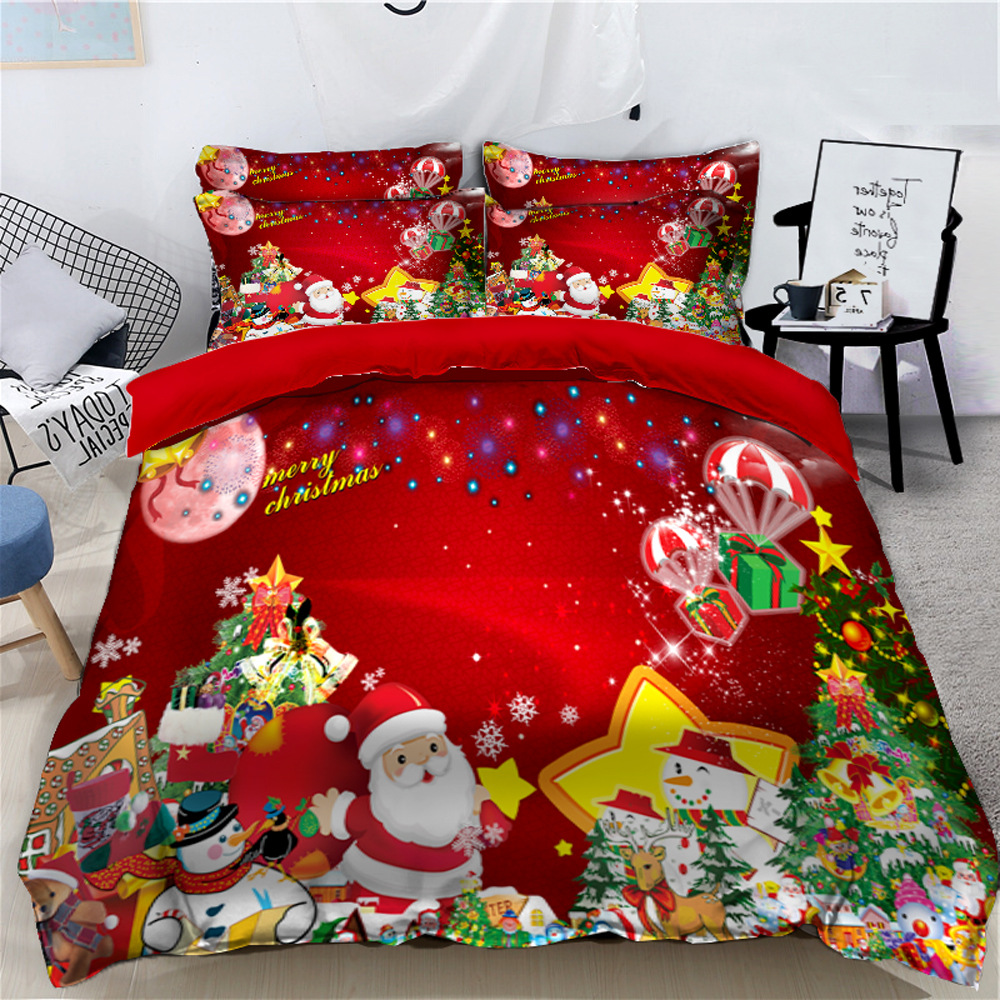 Santa Claus and Snowman Merry Christmas 3D 4-Piece Bedding Sets/Duvet Covers