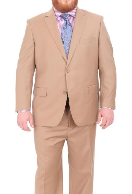 Mens Super 140's Wool Notch Lapel Two Button Portly Solid Tan Suit
