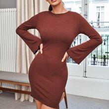 Wellensaum Einfarbig Elegant Kleider