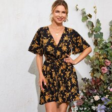 Bell Sleeve Belted Floral Print Dress