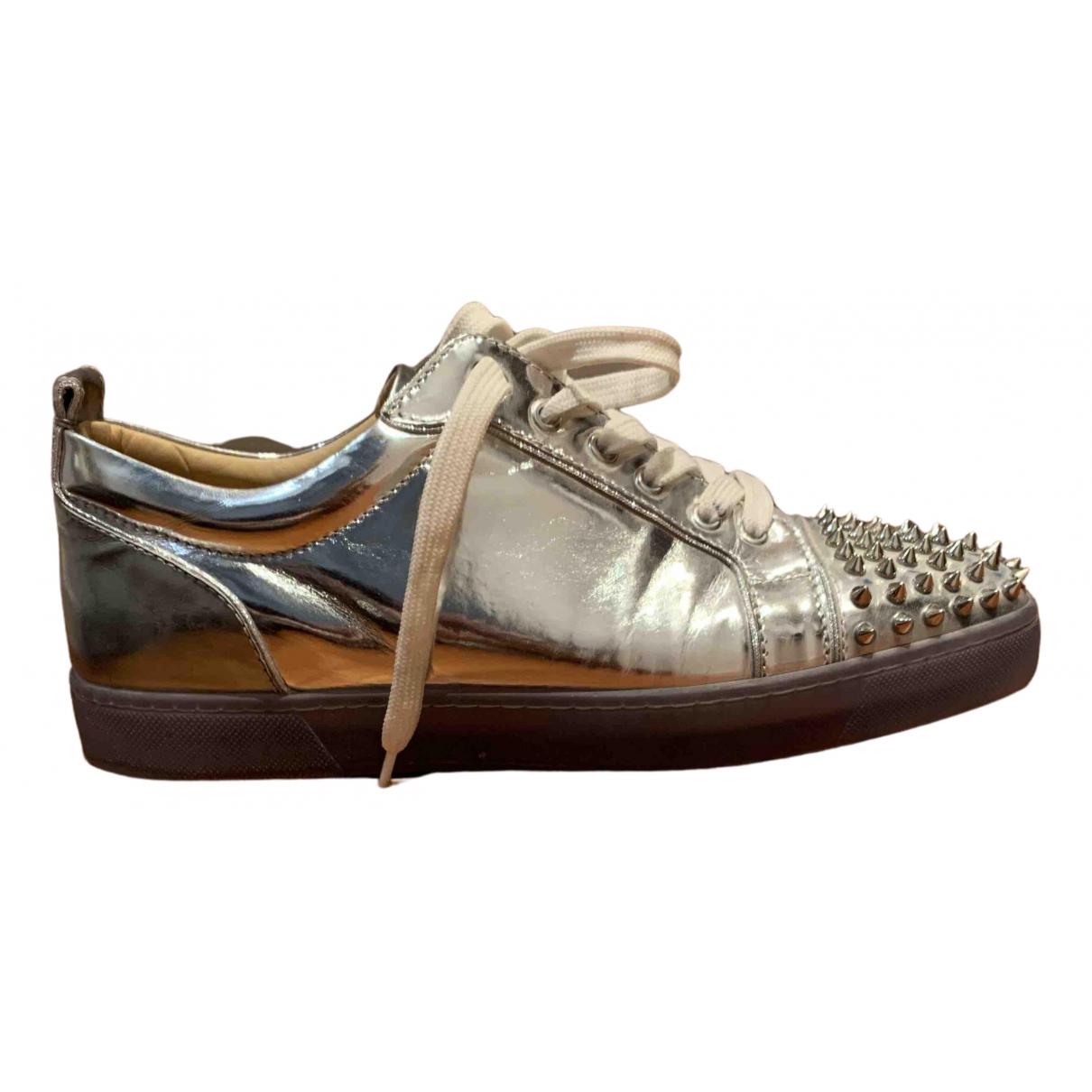 Christian Louboutin Louis junior spike Sneakers in  Silber Leder