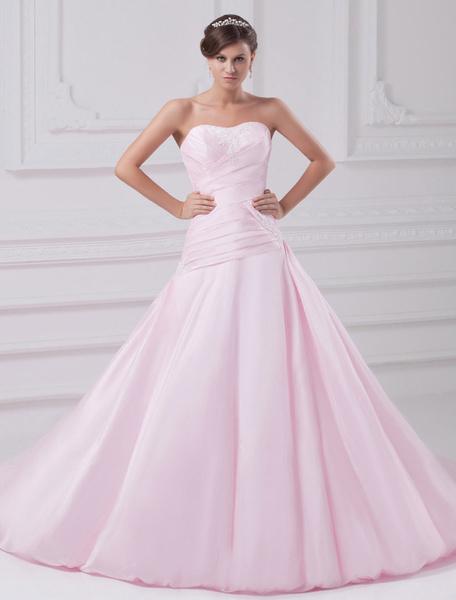 Milanoo A-line Sweetheart Neck Strapless Ruched Taffeta Pink Wedding Dress
