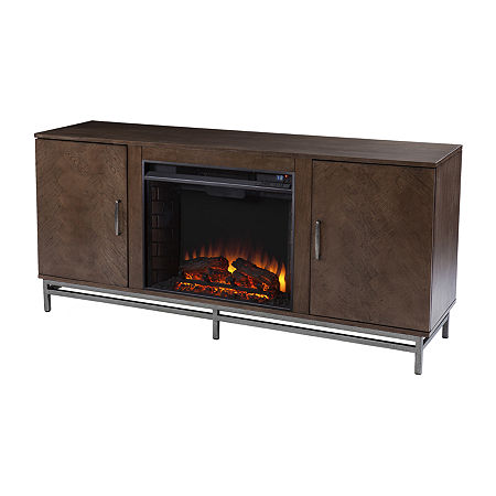 Pertke Electric Fireplace, One Size , Brown