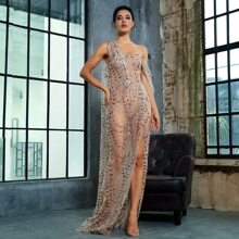 Draped Split Thigh Sequin Mesh Prom Dress
