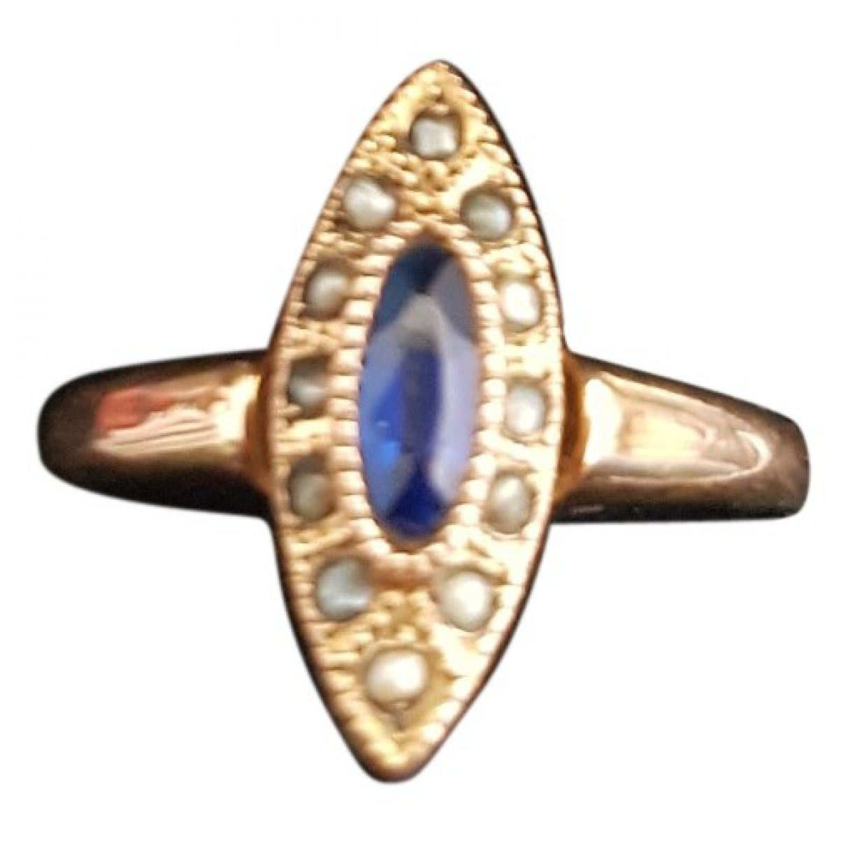 Non Signe / Unsigned \N Ring in  Blau Rosegold