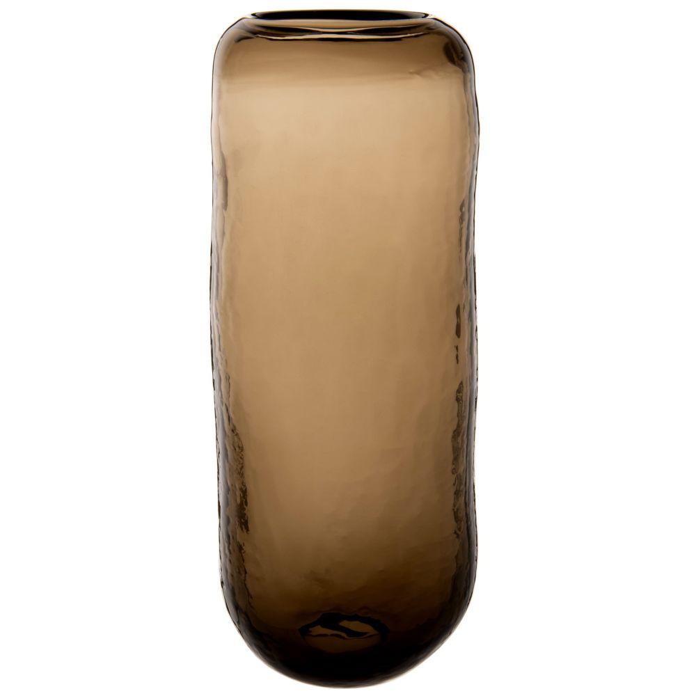Zylindrische Vase, gehaemmert, bernsteinfarben getont H31