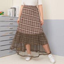 Plus Contrast Mesh Plaid Skirt