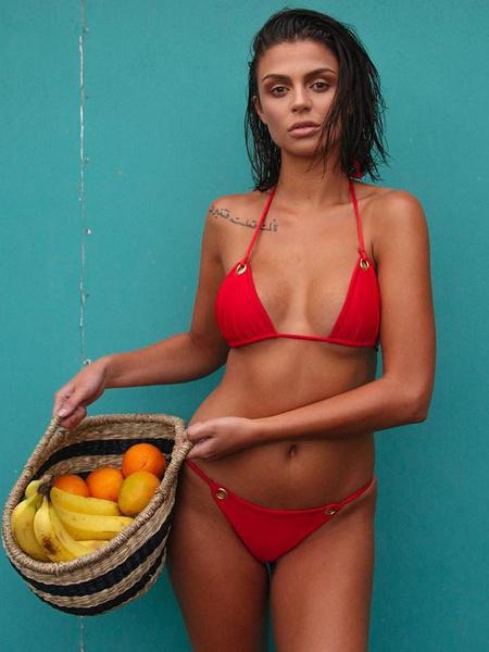 Milanoo Sexy Bikini Swimwear Halter Grommets Triangle Bikini Swimsuit