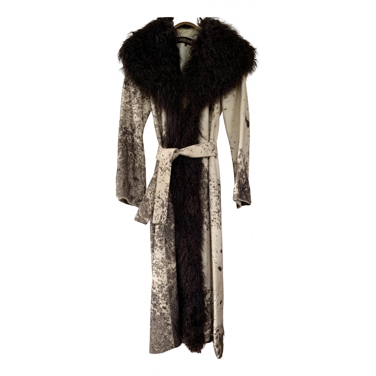 Roberto Cavalli - Manteau   pour femme en laine - ecru