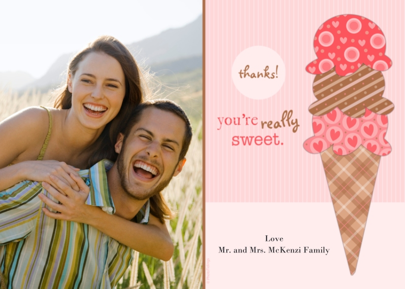 Valentine's Cards Flat Glossy Photo Paper Cards with Envelopes, 5x7, Card & Stationery -Sweet Thanks!