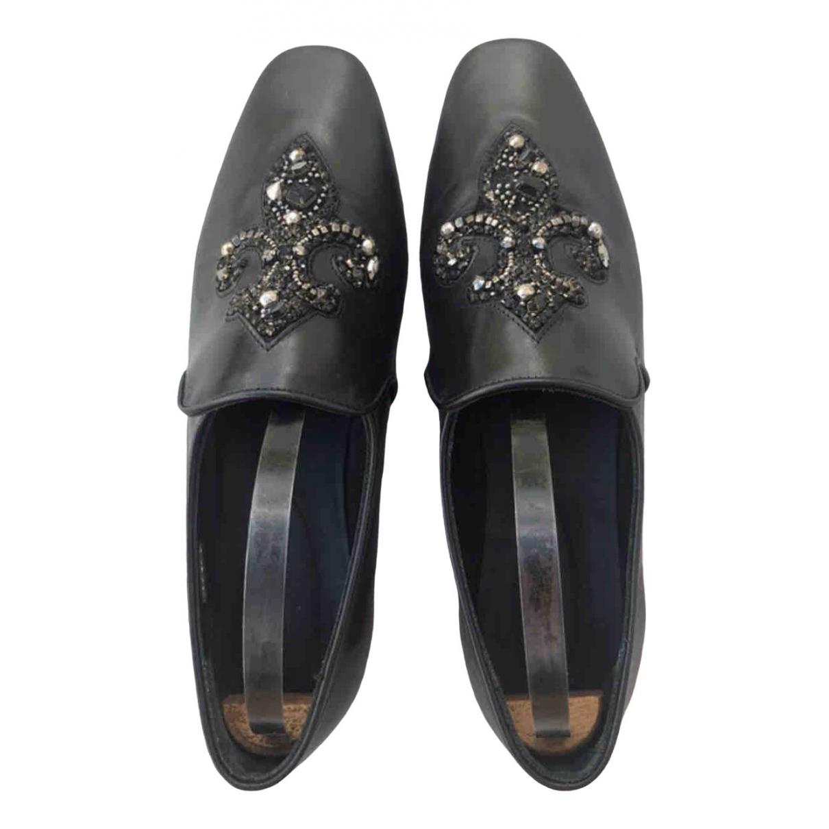The Kooples \N Black Leather Flats for Women 39 EU