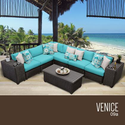 VENICE-09a-ARUBA Venice 9 Piece Outdoor Wicker Patio Furniture Set 09a with 2 Covers: Wheat and
