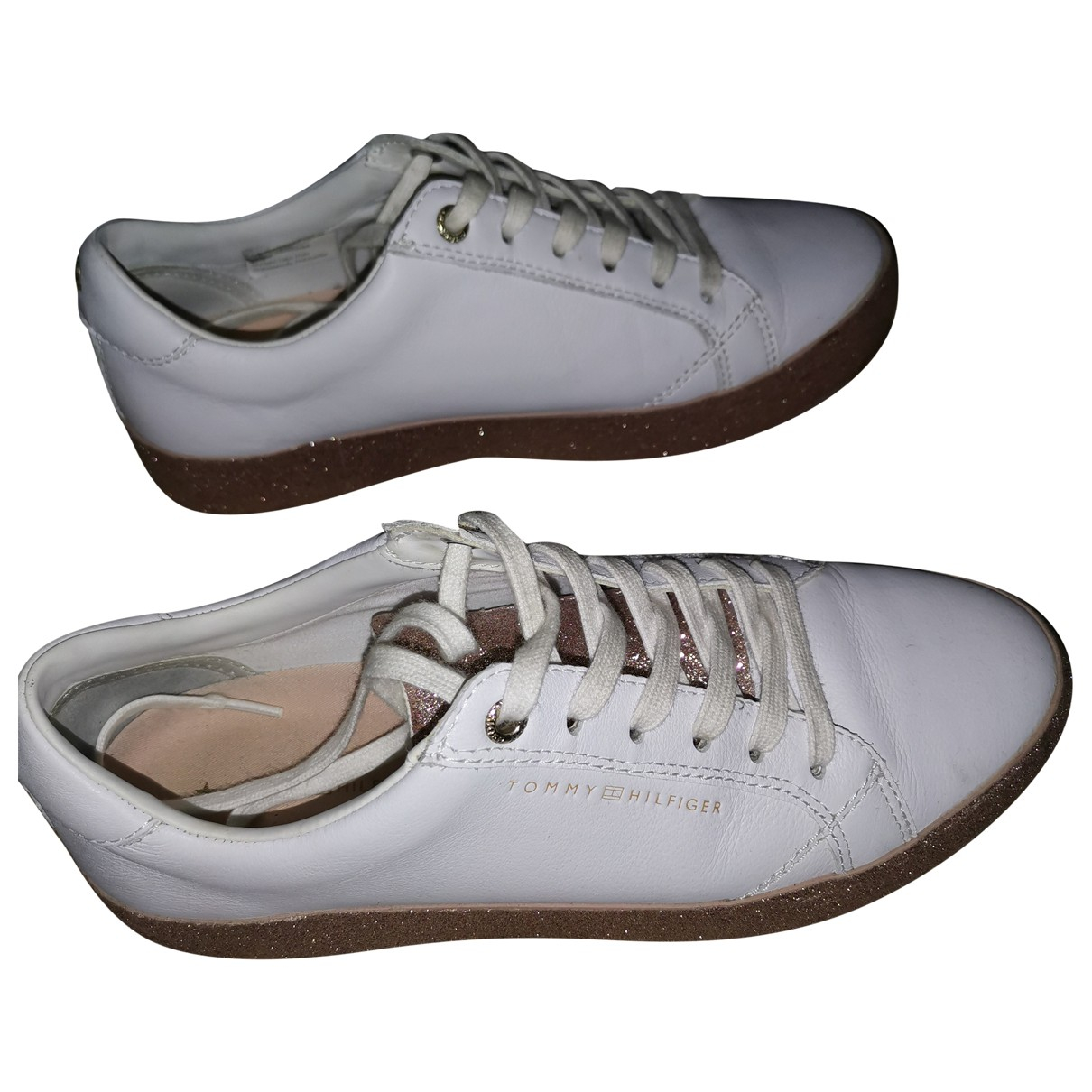 Tommy Hilfiger N White Glitter Trainers for Women 38 EU