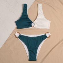 Two Tone Rib Ring Linked Bikini Swimsuit