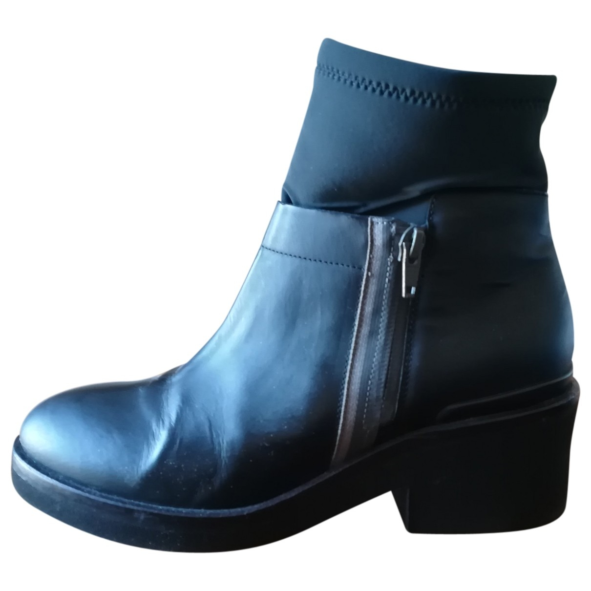 Vic Matié \N Anthracite Leather Ankle boots for Women 38 IT