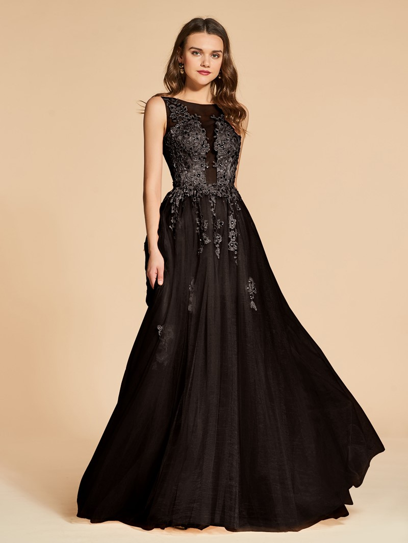 Ericdress A Line Applique Beaded Backless Evening Dress