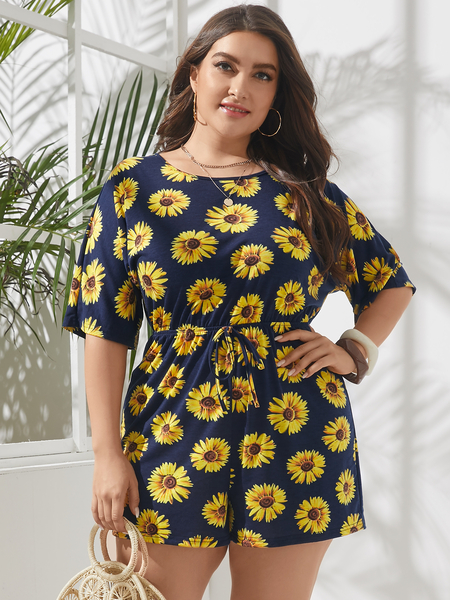 YOINS Plus Size Floral Print Backless Design Self-tie Design Half Sleeves Playsuit
