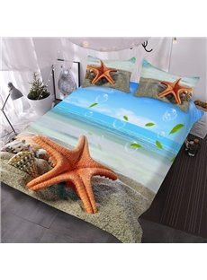 Red Starfish on The Beach 3D Printed 3-Piece Polyester Comforter Sets