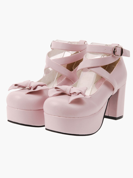 Milanoo Sweet Lolita Heels Pink Platform Cross Straps Lolita Shoes