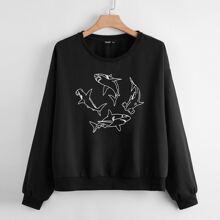Plus Drop Shoulder Shark Print Sweatshirt