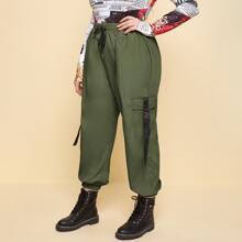 Pantalones cargo de cintura con cordon con bolsillo con solapa con cintura con hebilla