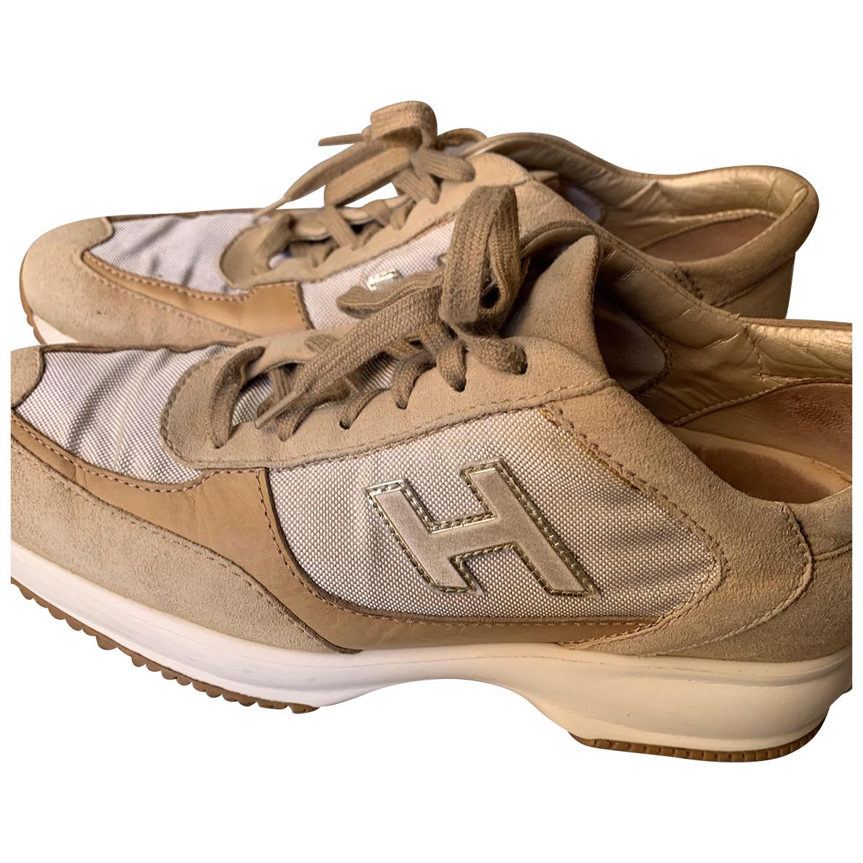 Hogan - Baskets   pour femme en suede - beige