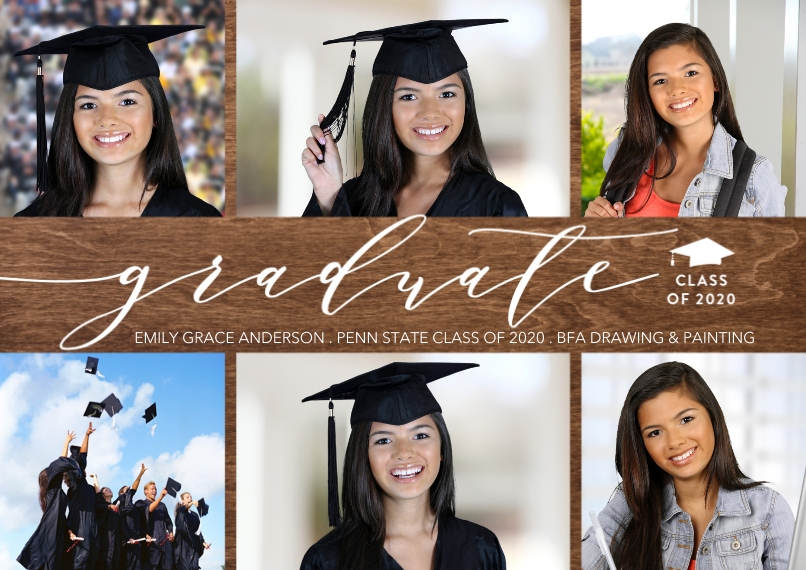 Graduation Announcements 5x7 Cards, Premium Cardstock 120lb with Scalloped Corners, Card & Stationery -Class of 2020 Modern Script by Tumbalina