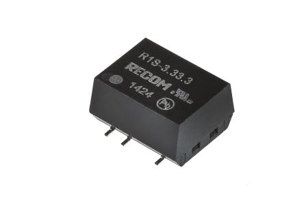 Recom R1S 1W Isolated DC-DC Converter Surface Mount, Voltage in 2.97 → 3.63 V dc, Voltage out 3.3V dc