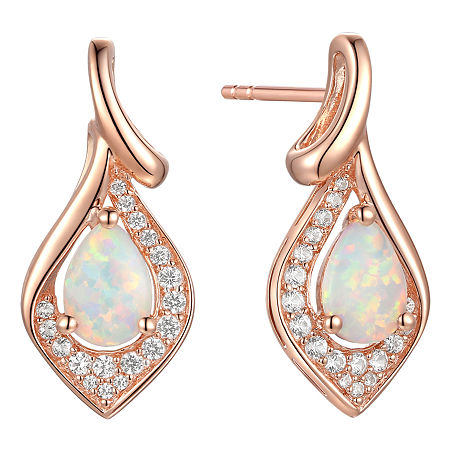 Lab Created White Opal 14K Rose Gold Over Silver Drop Earrings, One Size , No Color Family