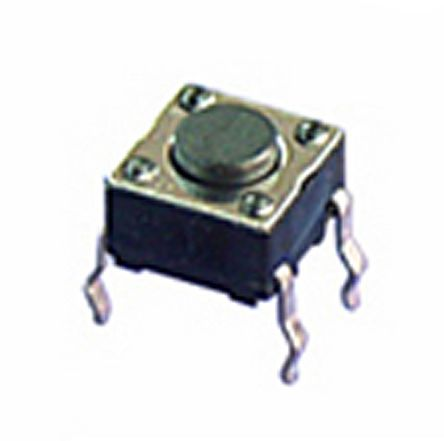 NKK Switches Black Flat Button Tactile Switch, Single Pole Single Throw (SPST) 125 mA 0.8mm Through Hole (10)