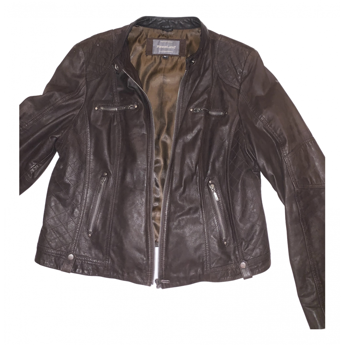 Non Signé / Unsigned N Brown Leather Leather jacket for Women 48 FR
