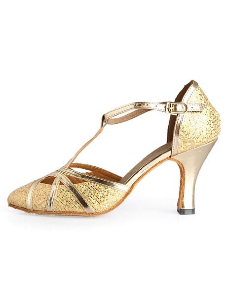 Milanoo Zapatos de Salon de Baile con Lentejuela Color Oro 2020 con Punta Puntiguada Tipo de T 1920s Flapper Zapatos Zapatos de Baile Latino