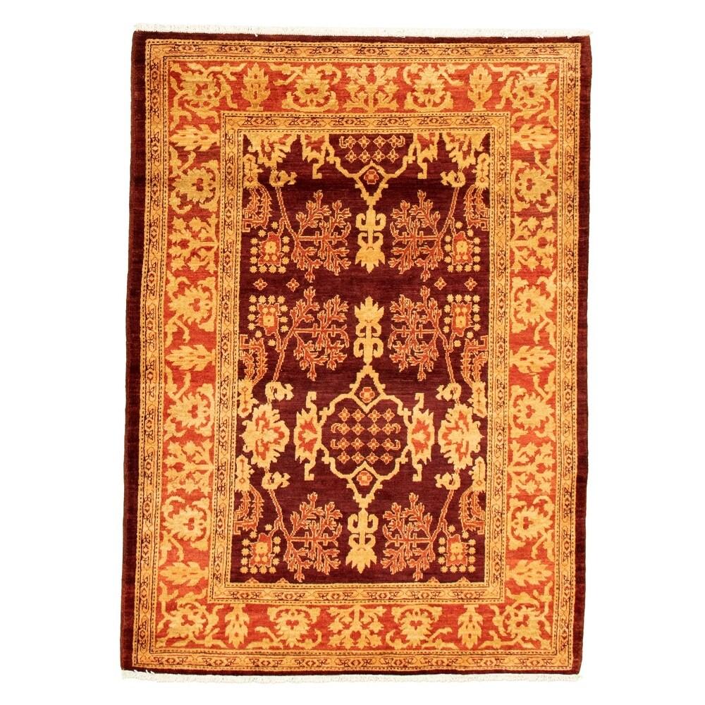 ECARPETGALLERY  Hand-knotted Peshawar Finest Ottoman Red Wool Rug - 40 x 59 (40 x 59 - Dark Red)