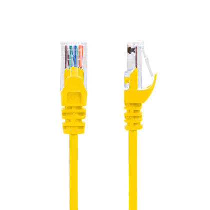 Câble mince Cat6 UTP 28AWG pour réseau ethernet CMR/FT4 Jaune - PrimeCables® GoSlim-4pi, 10/Paquet