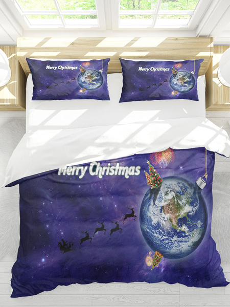 Milanoo Christmas Bedding Set Chic 3-Piece Polyester Fiber Red Christmas Holiday Beddingroom Supplies