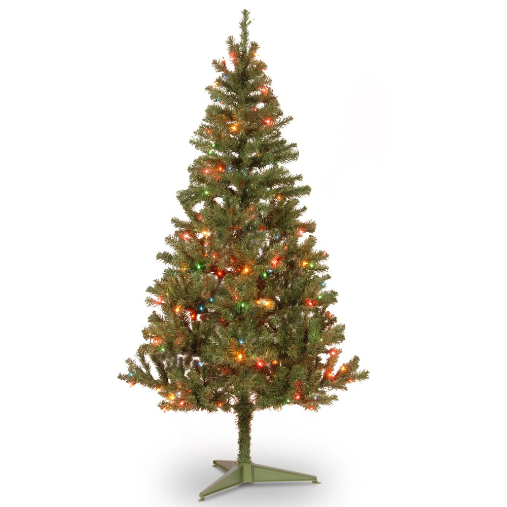 6-foot Canadian Fir Grande Wrapped Tree with 200 Multicolor Lights (Green with Multi Lights)