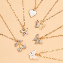 6 piezas collar con diseño de mariposa