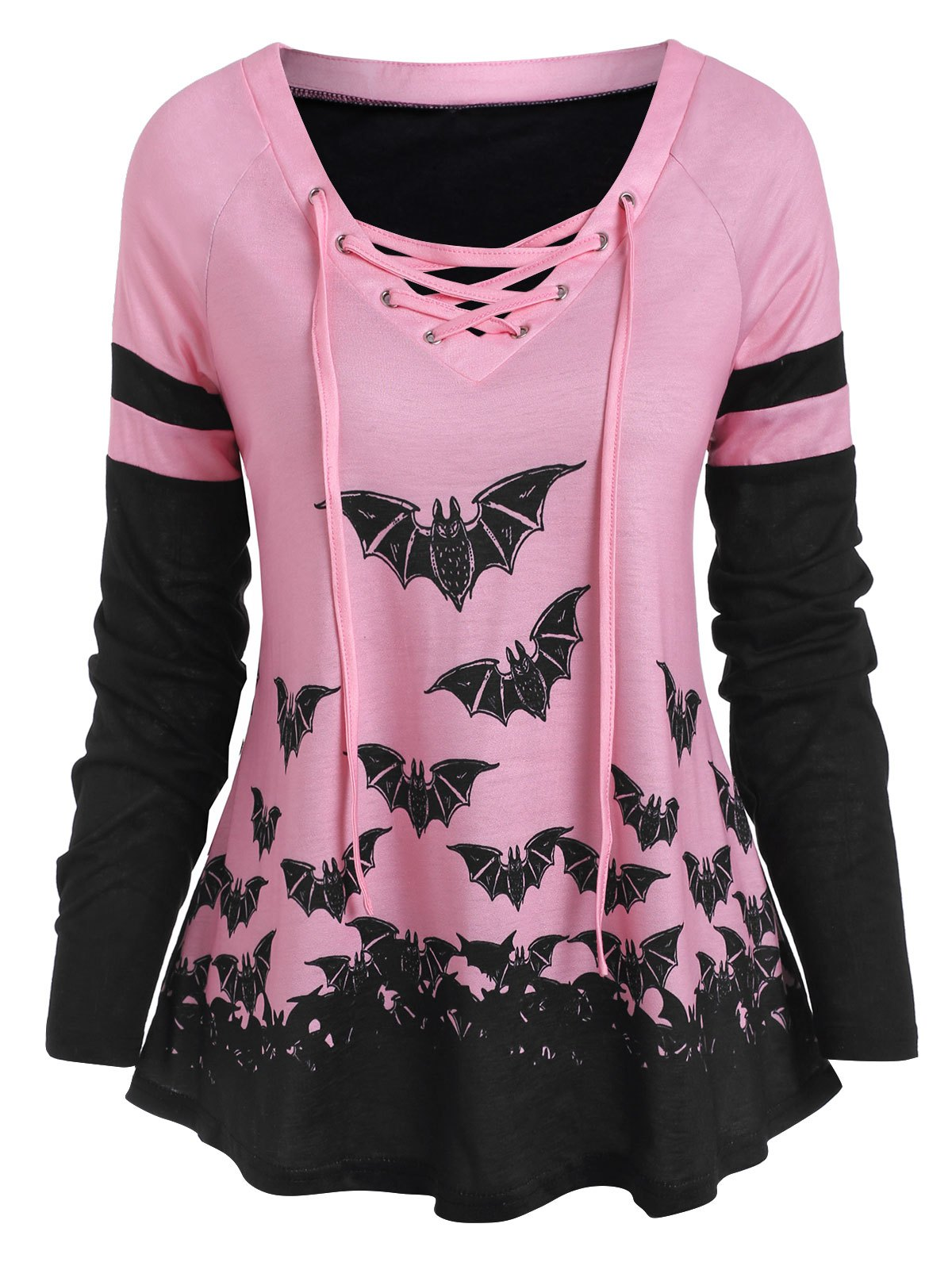Halloween Bat Print Raglan Sleeve Lace Up T-shirt