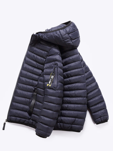 Milanoo Men Overcoat Casual Hooded Long Sleeve Overcoat Black Cotton Fill Quilted Coat