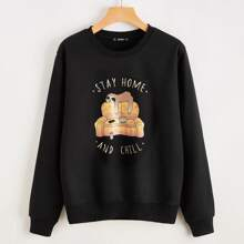 Cartoon & Slogan Graphic Sweatshirt
