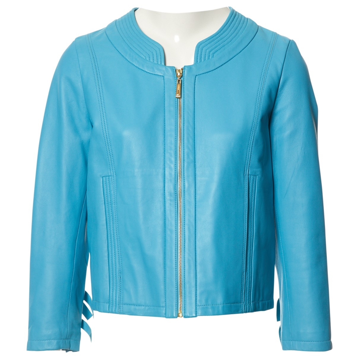 Just Cavalli \N Blue Leather jacket for Women 44 IT