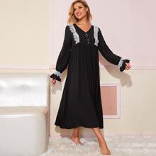 Pearl Button Front Eyelash Lace Trim Bell Sleeve Nightdress