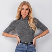 Rolled Neck Fitted Tee