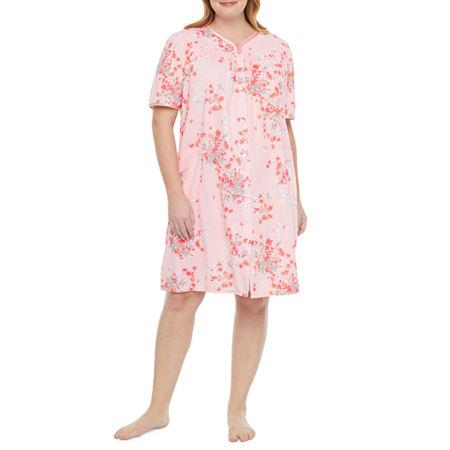 Adonna Womens-Plus Knit Robe Short Sleeve Knee Length, 3x , Pink
