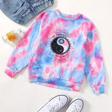 Pullover mit Tai Chi Grafik und Batik