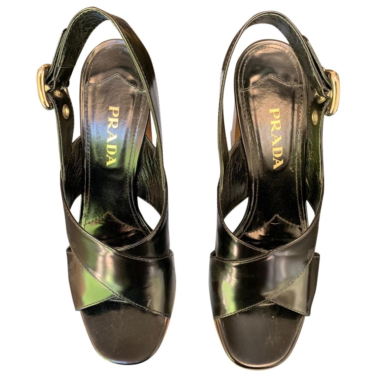 Prada \N Black Leather Sandals for Women 39 EU