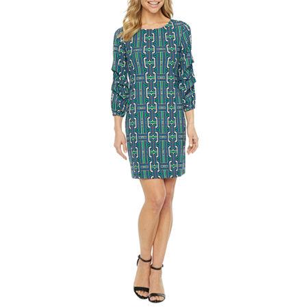 Tiana B 3/4 Sleeve Geometric Shift Dress, Medium , Green